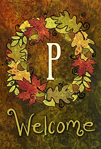 Toland Home Garden Fall Wreath Monogram P 28 x 40 Inch Decorative Autumn Leaves Welcome Initial House Flag - Monogram Holiday Wreath Garden