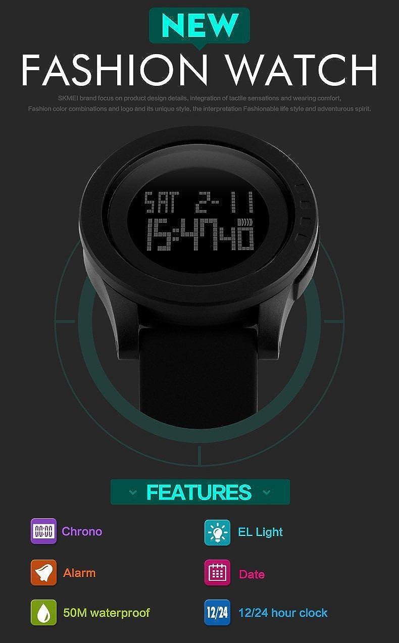 TONSHEN Relojes de pulsera Mujer y Hombre LED Digital Electrónica Gran Dial 5ATM Resistente al Agua Deportivo Al Aire Libre Militares Multifuncional ...