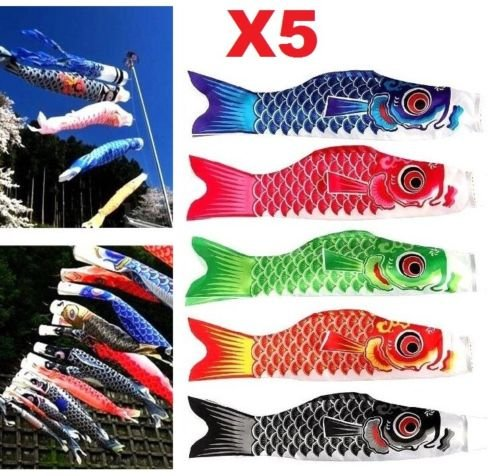 Flag Kite - EatingBiting(R) X5 Colors Japanese Carp Windsock Streamer Fish Flag Kite Koinobori Home Outdoors Hanging Decoration 20
