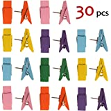 Push Pin Clips - 30 Pcs 6 Color Paper Clips with Pin for Documents/Artworks/School Projects/Photos/Notes/Papers/Cork Board/Bulletin Board - Clip Thumbtack - No Holes for The Paper