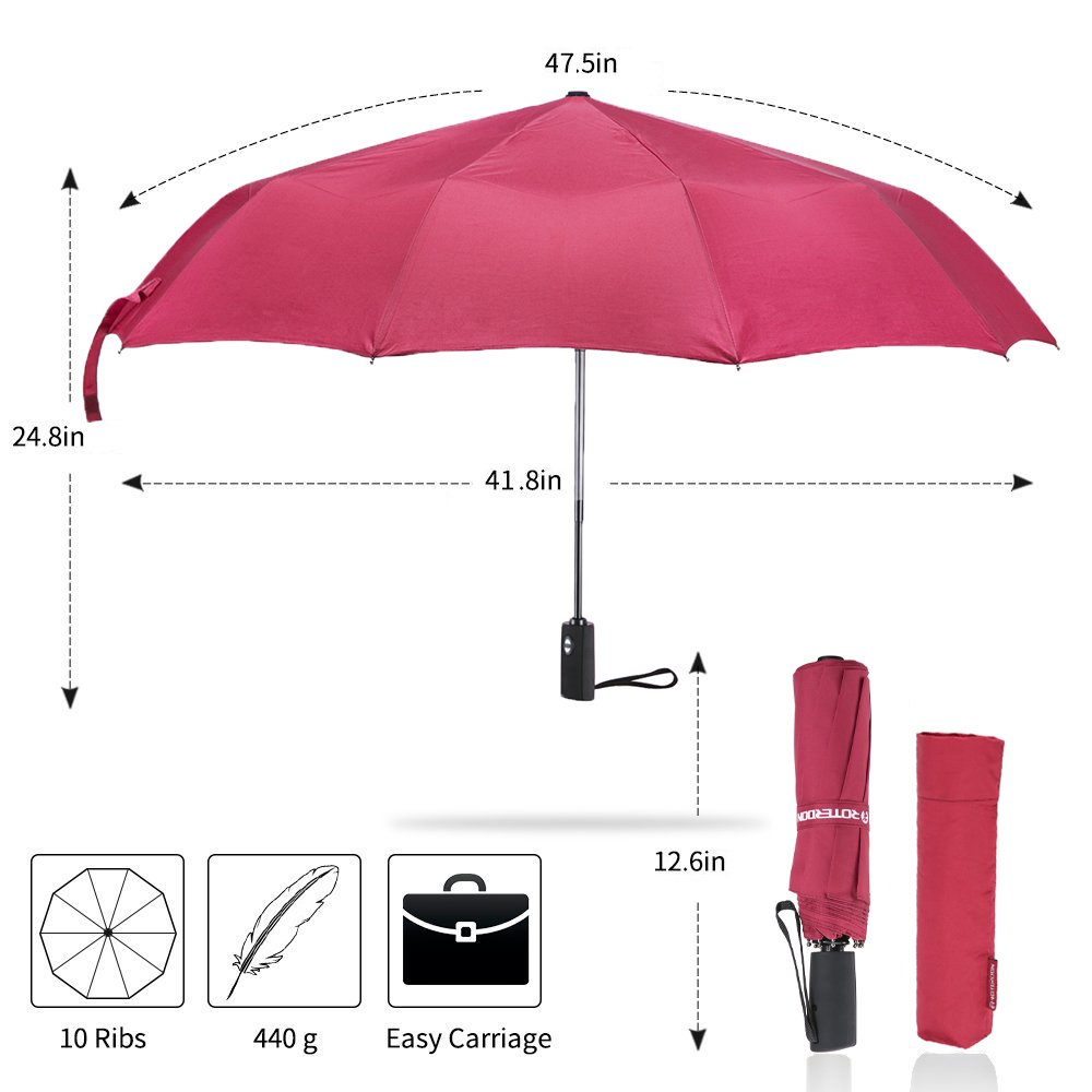 ROTERDON Windproof Travel Umbrella Folding - Small Compact Umbrella with Teflon Coating Auto Open/Close Reinforced Canopy Waterproof Pack for Luggage,Red by ROTERDON (Image #2)