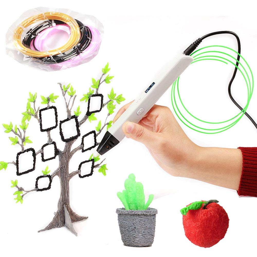 3D Drawing Printer Pen Non-Clogging Printing Pen with PLA Filament Refills and bright OLED Display, Professional Drawing Tool - white