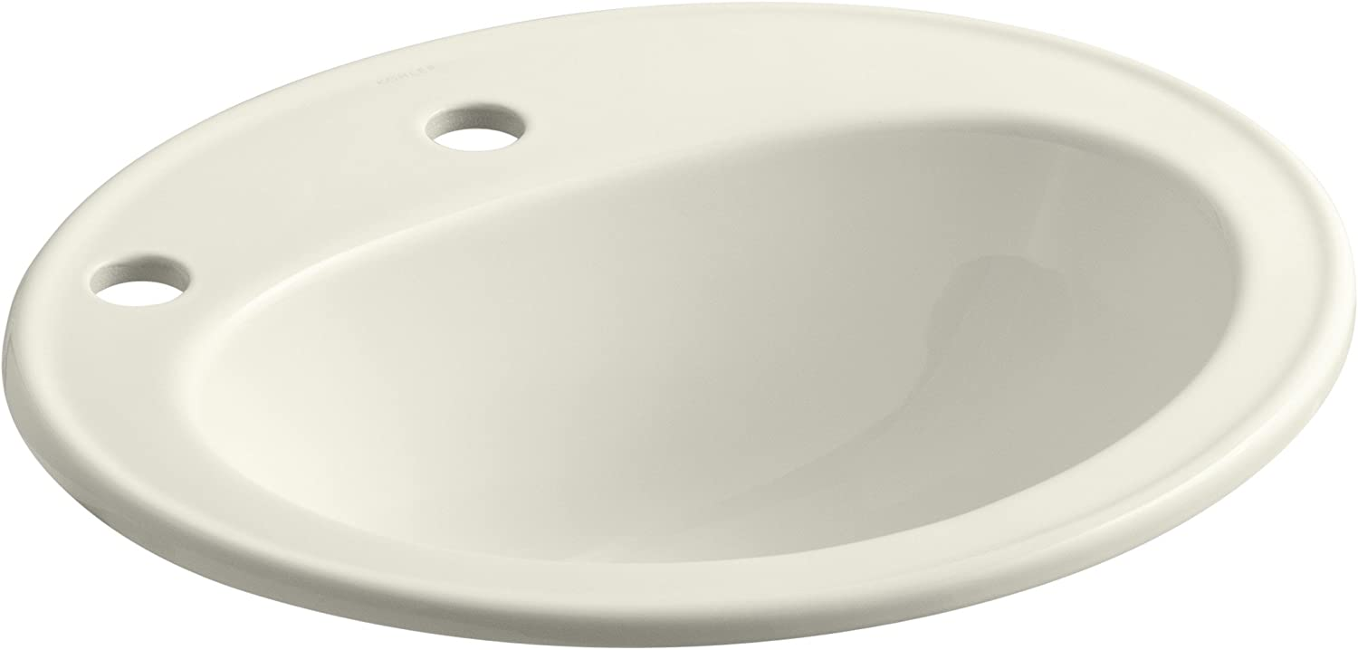 KOHLER K-2196-1L-NY Pennington Self-Rimming Bathroom Sink with Single-Hole Faucet Drilling and Left-Hand Soap Lotion Dispenser Hole Drilling, Dune