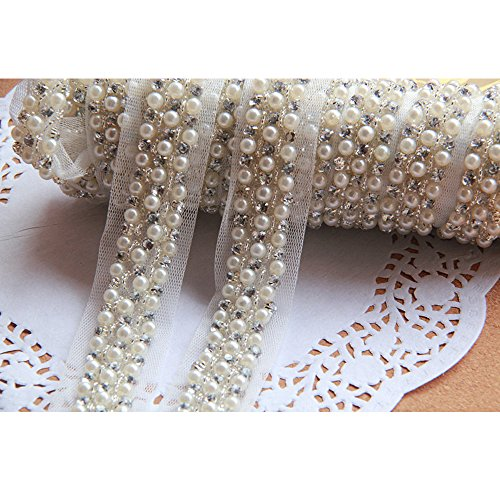 Delicate Artificial Pearl Beaded Mesh Lace Trim Ribbon Applique Sewing for Wedding Dress Collar Decor - Beaded Braids