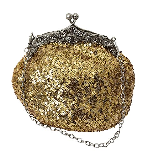Evening Bright Sequin Cocktail Mesh Gold Full Beaded Chicastic Purse Clutch Formal Wedding Antique Style 057qEwx