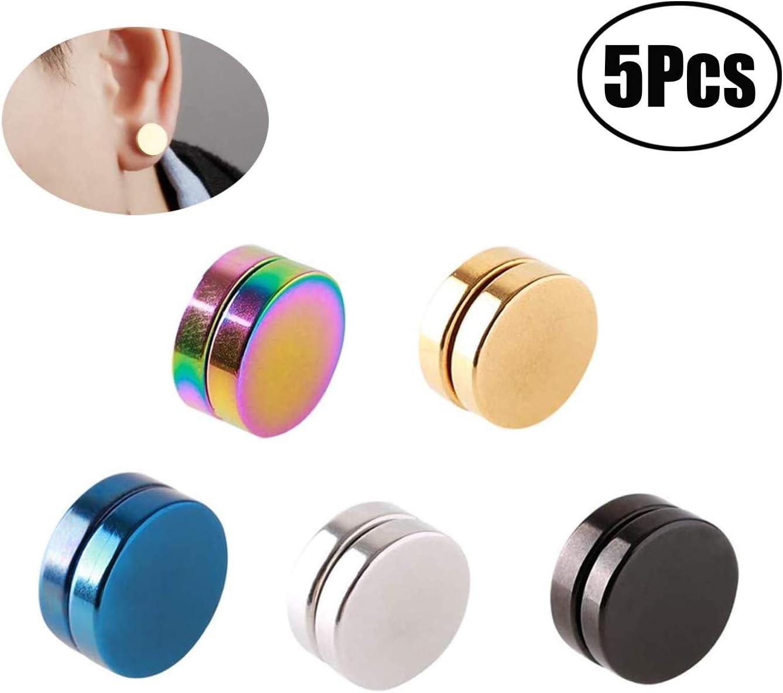 5 PCS Acero Inoxidable Pendientes Magnéticos Iman Hombres Mujer Unisex Falso Pendientes Aros Plata Tous Redondos Sin A(-)