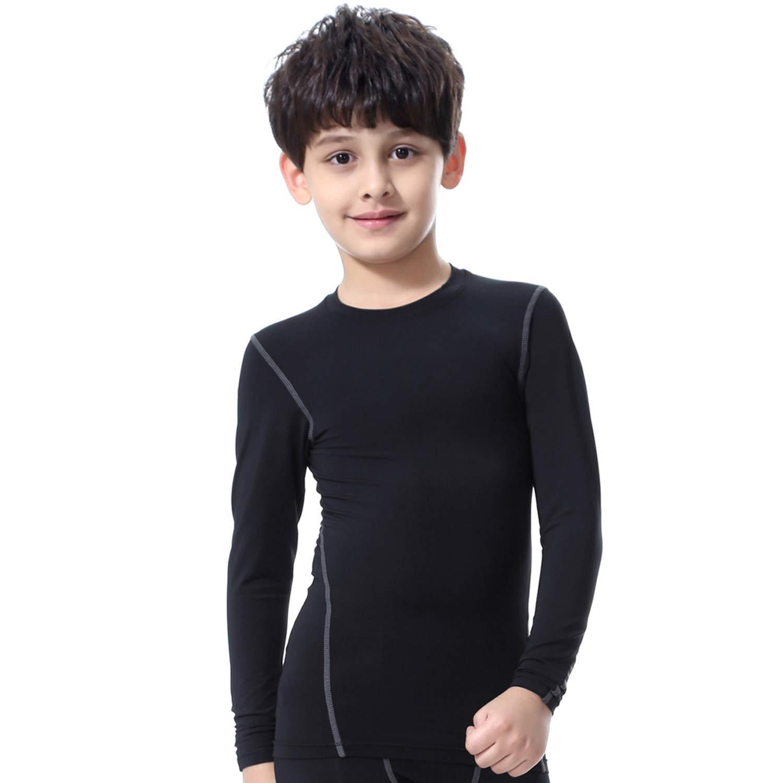 Bwiv Camiseta Térmica Interior Niños Camiseta Deporte Manga Larga de Compresión Ropa Interior Polar Niño Secado Rápido Transpirable Invierno Esquí Talla S 3XL (S/Estatura:110-120cm, Negro Grís): Amazon.es: Ropa y accesorios