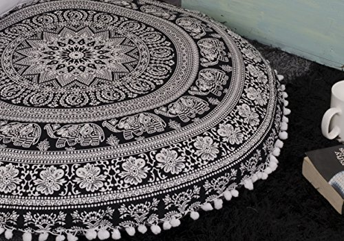 Popular Handicrafts Kp836 Large Hippie Elephant Mandala Floor Pillow-Cushion-Pouf Cover Round Bohemian Yoga Decor Floor Cushion Case- 32