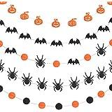 WXJ13 5 Style Halloween Paper Garlands Pumpkin Bat Dot Spider Paper Garland Hanging Decorations, 157 Inches Long, Black and Orange