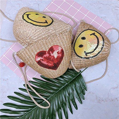 A ZHANGJIA sin Viajar Skew Paja Mini en big de Tejidas Bolsa Mini Hombro Sonriente de smile Verano Solo Bolsa Bolsa Playa Cara de Amor Trompeta Woven Bolsas rrwSTqcUW