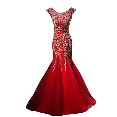 Kivary Red Mermaid Tulle Gold Embroidery Beaded Sequins Formal Evening Prom Dresses US 2