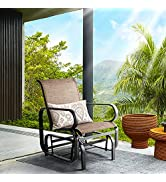 Aoxun Outdoor Patio Glider Chair - Textilene Fabric Porch Swing Chair, Outside Swing Chair, Brown…