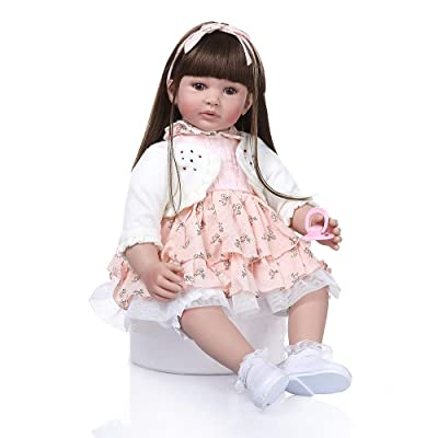 Zero Pam Reborn Baby Dolls 24 inch Reborn Girl Toddler Life Size Dolls Vinyl Silicone Babies Safty Toys for Girls Age 3+: Toys & Games