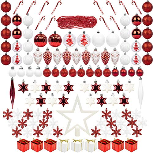 ITART 131ct Christmas Tree Ornaments Decorations Assortment Including Tree Topper Balls Candy Cane Snowflakes Stars Pine Cones Miniature Gift Boxes and Beads Garlands Finial (Red and White)