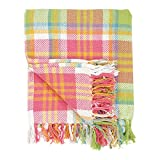 C&F Home 100% Cotton Woven Throw Blanket Plaid Pattern in Shades of Pink Orange Green Blue White with Tassels -- Palm Plaid
