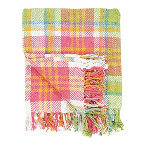 C&F Home 100% Cotton Woven Throw Blanket Plaid Pattern in Shades of Pink Orange Green Blue White with Tassels -- Palm Plaid (Green And Plaid Pink)