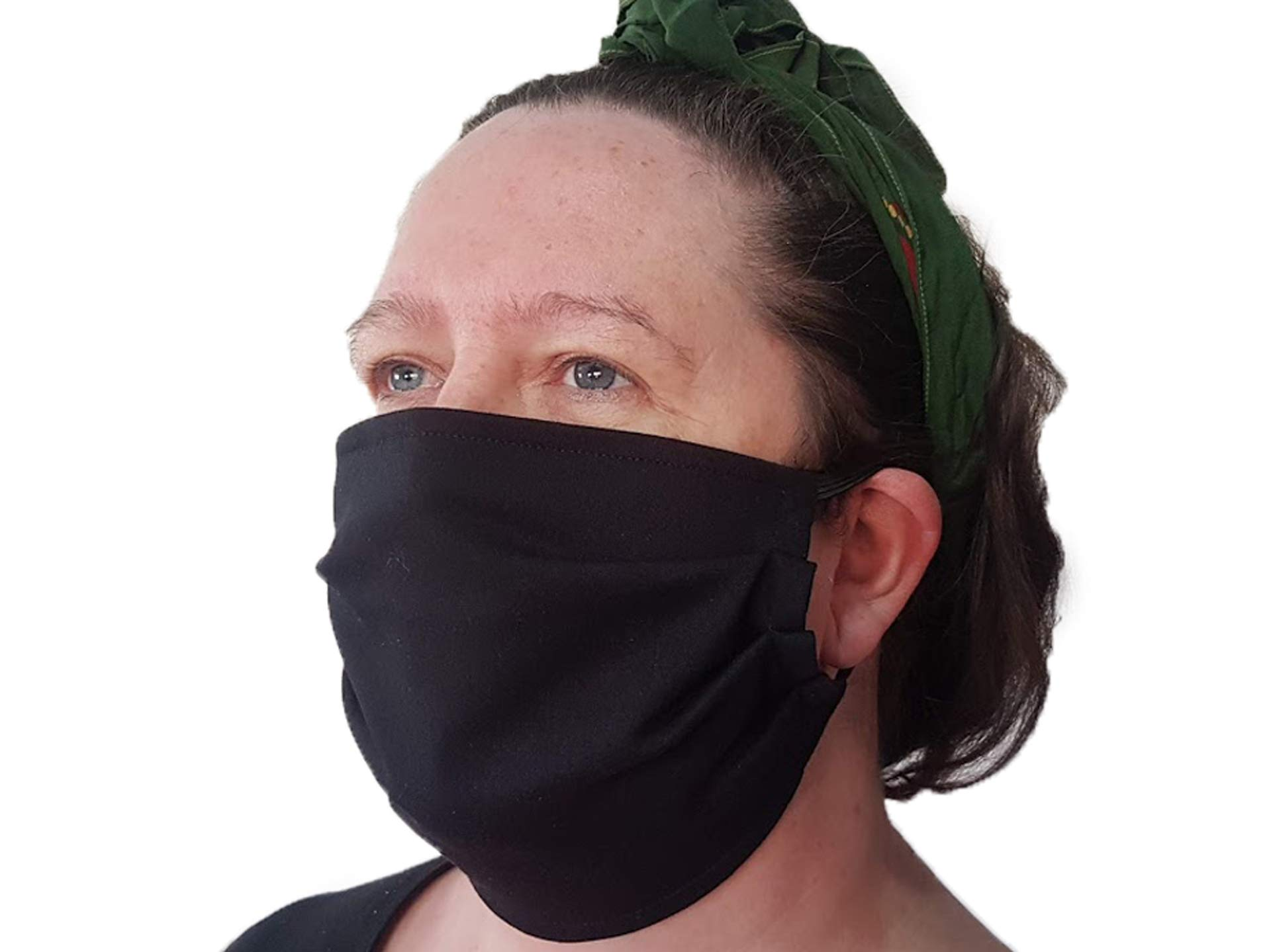 3 Pieces, 2 Layer, Cotton, Washable & Reusable Face Mask. Made in The UK by Natural Solutions. Adult, Anti-fog, Haze, Dustproof Fabric Mask. For Running, Cycling, Outdoor Activities, Black