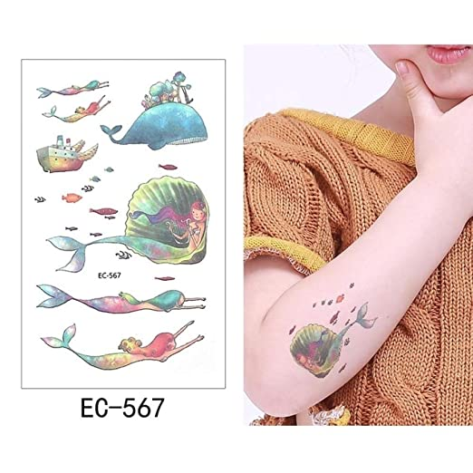 adgkitb 5pcs Tatuaje Temporal Pegatina Sirena Impermeable niños EC ...