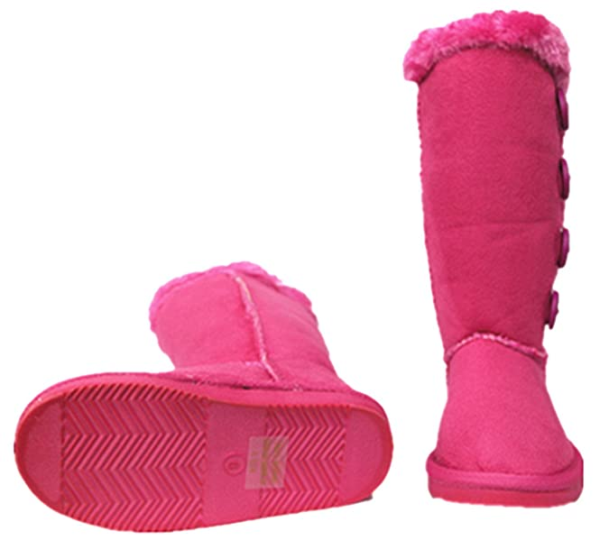 Amazon.com | SF Kids Girls Four Button Faux Fur Lined Shearling Mid Calf Under Knee Winter Boots | Shoes