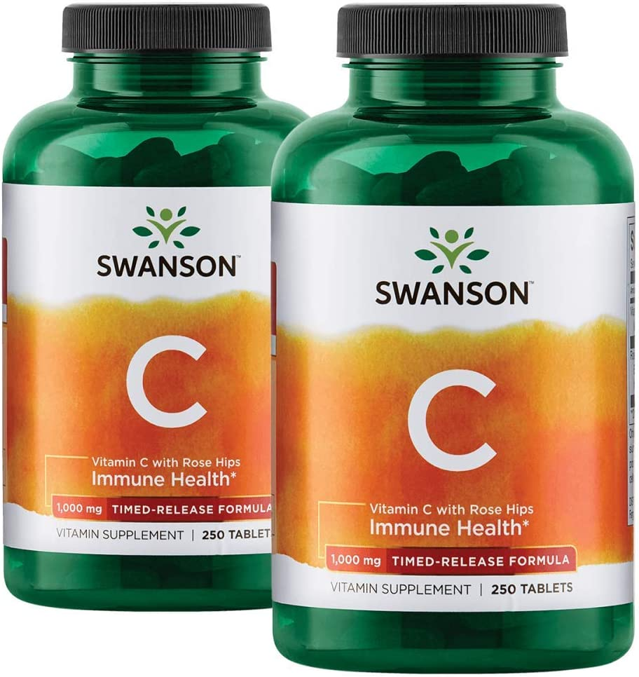 Swanson Timed-Release Vitamin C with Rose Hips Immune System Support Skin Cardiovascular Health Antioxidant Supplement 1000 mg 500 Tablets 2 Bottles