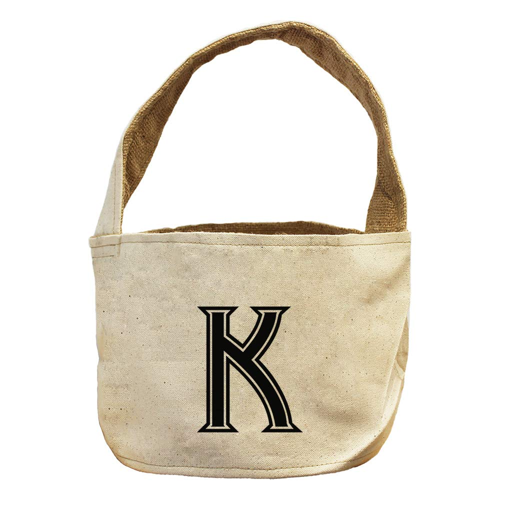 Style in Print K College Font Monogram Letter K Canvas and Burlap Storage Basket