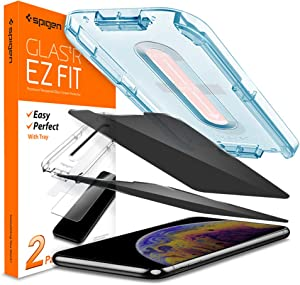Spigen Tempered Glass Screen Protector [Glas.tR EZ Fit] designed for iPhone 11 Pro/iPhone XS/iPhone X [2Pack] - Privacy