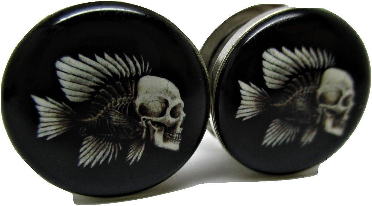 Pierced Republic Skeleton Fish Ear Plugs - Stainless Steel Screw-On Ear Plugs - 7 Sizes - Pair - New!