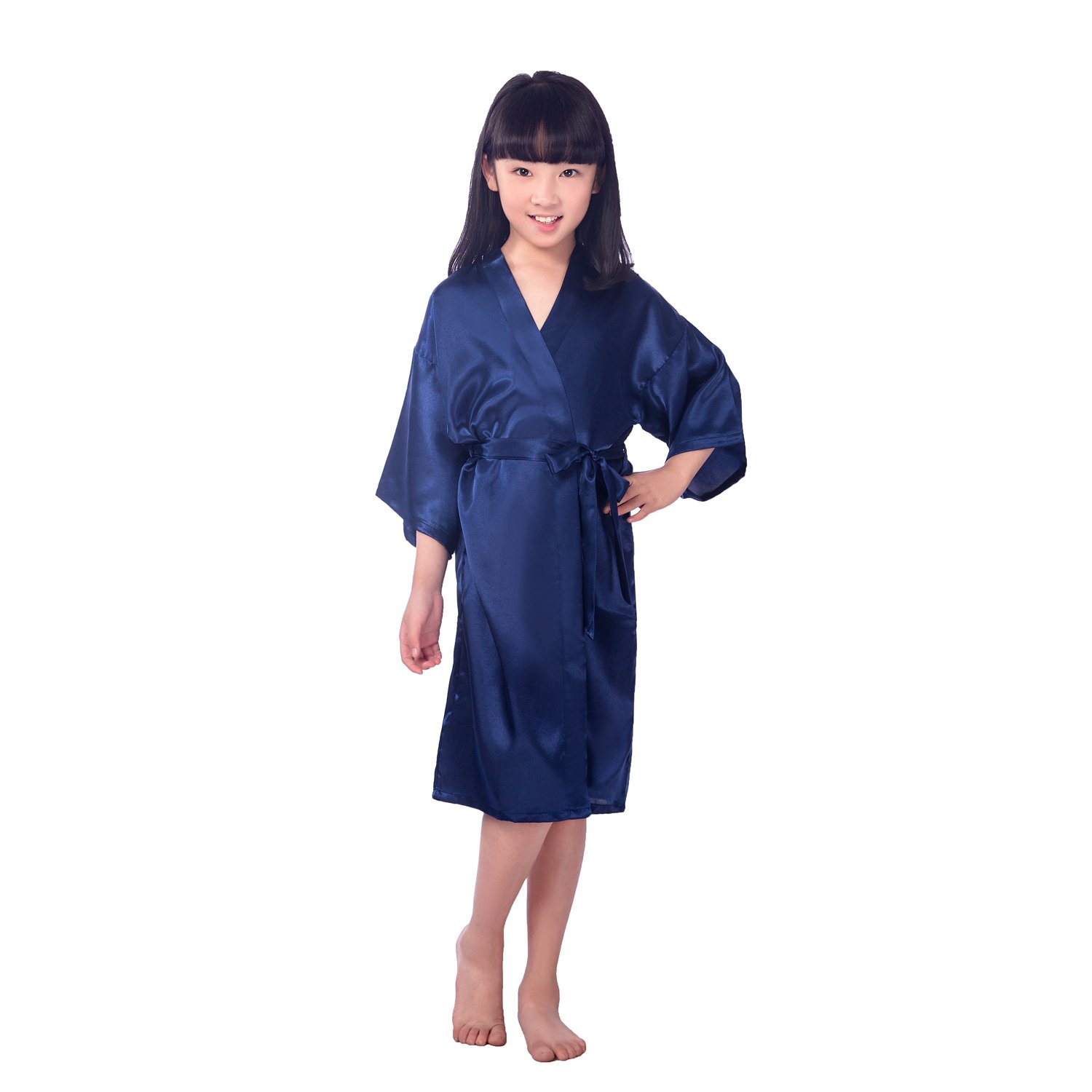 Kids Girls Long Solid Kimono Silky Satin Bath Robe FREE FISHER