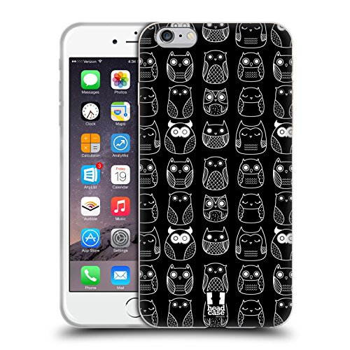 Head Case Designs Nero In Line Doodle Gufi Cover Morbida In Gel Per Apple iPhone 6 Plus / 6s Plus