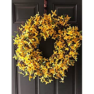 "Forsythia Wreath Large 20"" Summer Spring Decor Yellow Door Decoration Primitive 43"