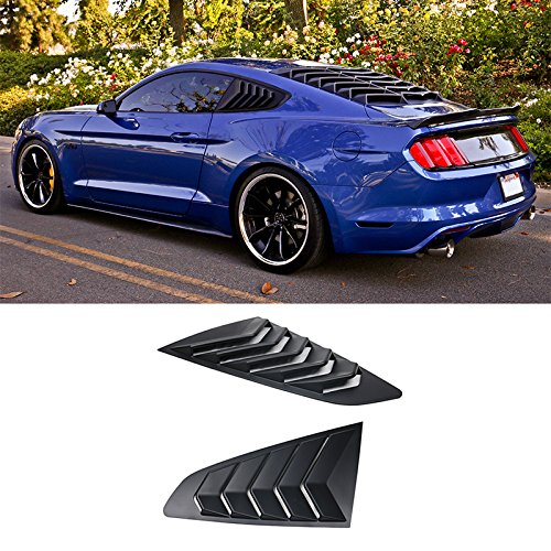 Window Visor Fits 2015-2018 Ford Mustang | IKON Style Black ABS Rear Window Louvers Cover Sun Rain Shade Vent by IKON MOTORSPORTS | 2016 2017