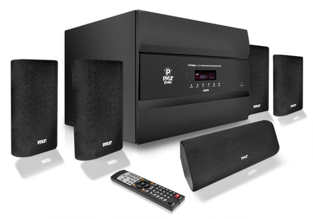 Pyle PT678HBA Bluetooth 5.1 Channel HDMI Home Theater System, 400 Watt, AM/FM Tuner, Subwoofer & Speakers by Pyle