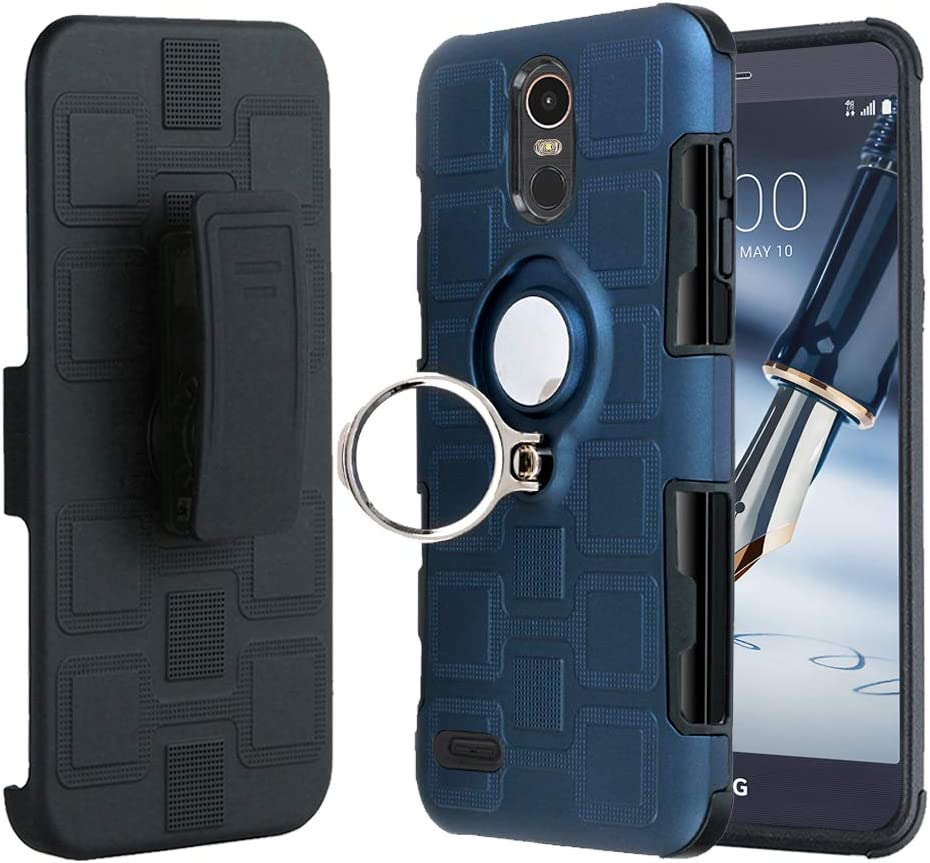 LG Stylo 3, LG Stylo 3 Plus, Stylo 3 Case, Slim Drop Protection Cover, Improved Ring Grip Holder Stand, Holster Belt Clip, Metallic Circle Protective Phone Case - Metallic Blue