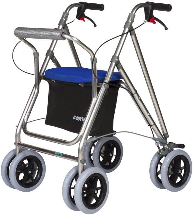 Andador para ancianos   Rollator de aluminio   Andador on frenos y asiento   De aluminio plegable   Color azul