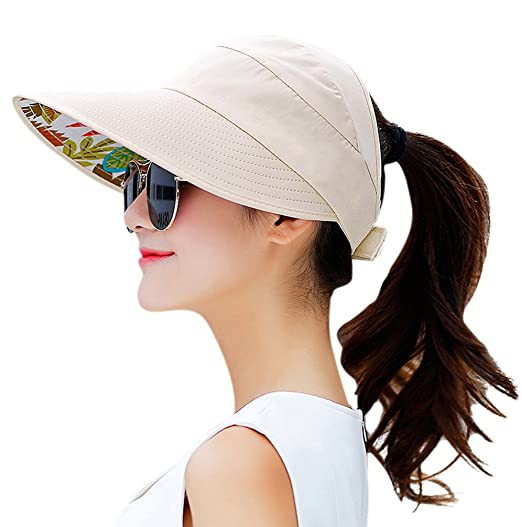 HINDAWI Sun Hats for Women Wide Brim UV Protection Summer Beach Visor Cap  Beige Womens Sun 724ae9dce939