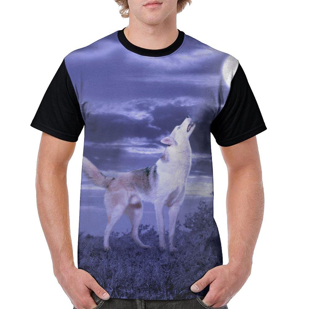CKS DA WUQ Dog Howling At Full Moon Men's Raglan Short Sleeve Tops T-Shirt Classic Undershirts Baseball Tees by CKS DA WUQ