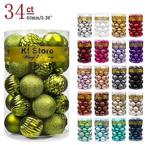 KI Store 34ct Christmas Ball Ornaments Shatterproof Christmas Decorations Tree Balls for Holiday Wedding Party Decoration, Tree Ornaments Hooks Included 2.36 (60mm Light Green)