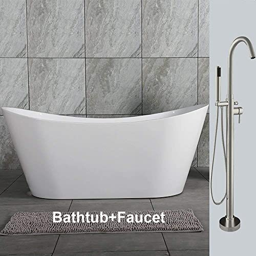 Woodbridge Acrylic Freestanding Bathtub Contemporary Soaking Tub Overflow and Drain BTA1516-B,with Brushed Nickel, 59 B-0016 F0001 Faucet