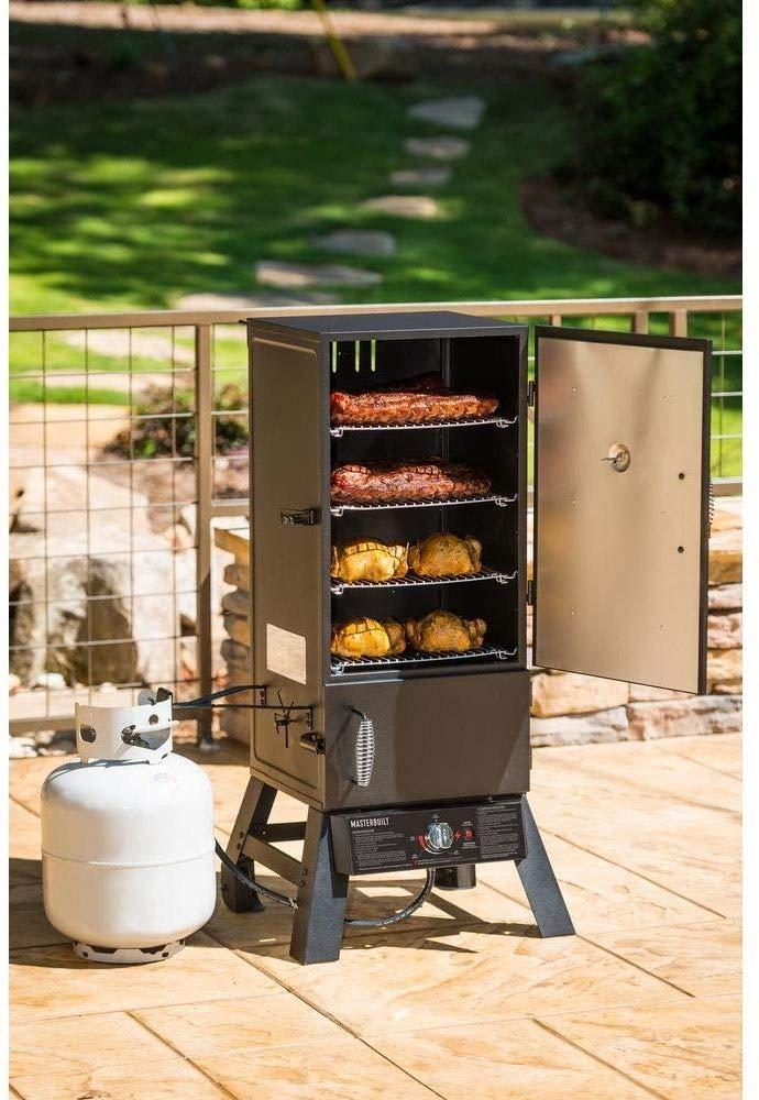 KPOP.SHOP Outdoor Garden Party for Commercial or Household Smoker Burner 15,400 BTU Propane Fuel Stainless Steel Burner 4 Racks