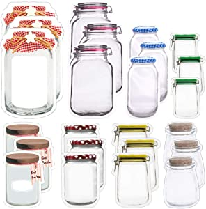 JOERSH 24PCS Reusable Mason Jar Ziplock Bags, Stand-Up Food Storage Fresh Sealed Bags for Snack Nuts Candy Cookies, 8 Styles