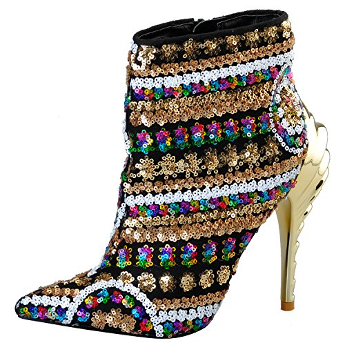 Women New Ankle Sequined Boots,Pinkpalms Multi Cloth Bling Paillette High Heels Rubber Boots for Ladies - Heels Multi Gold