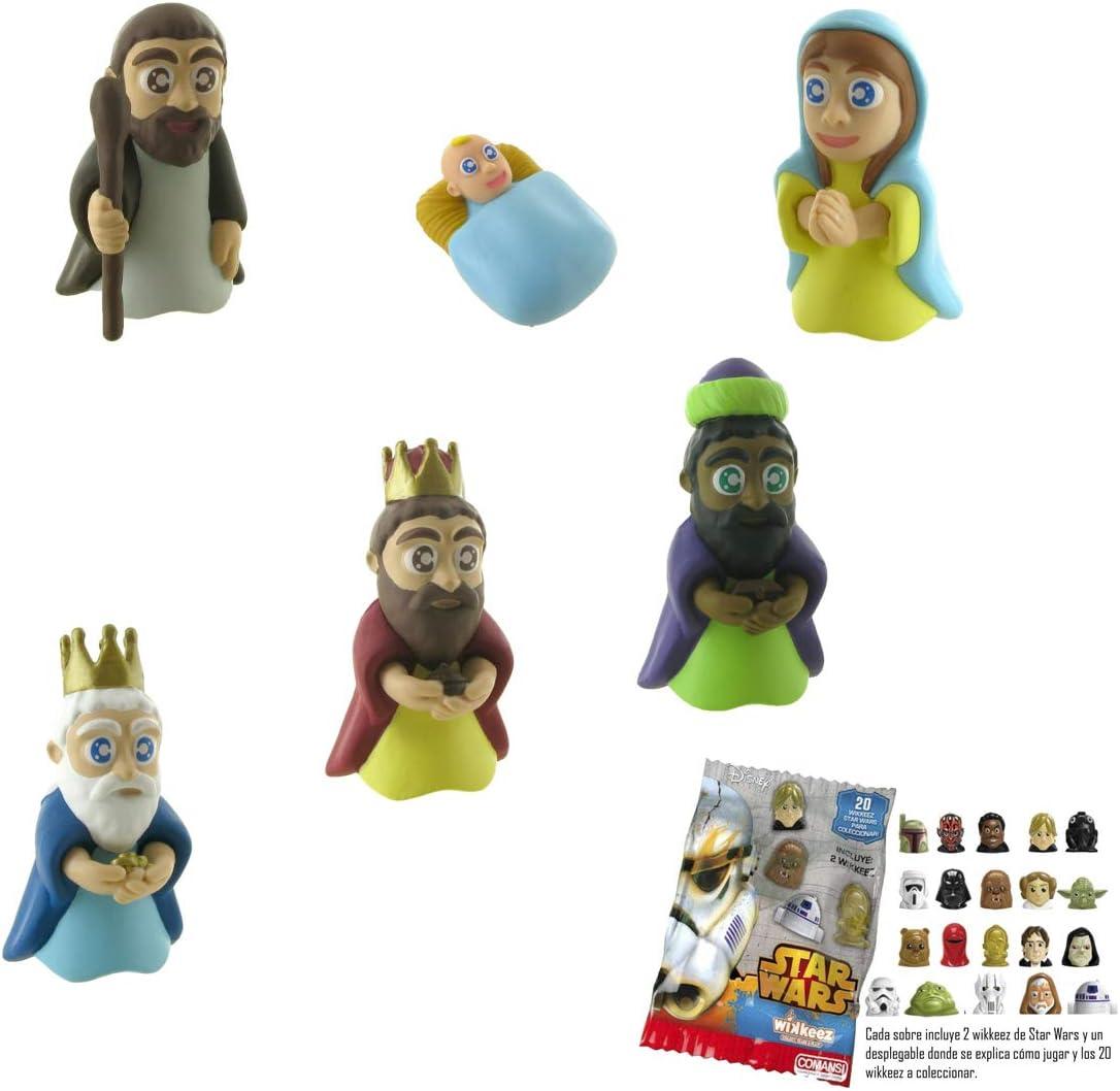 Lote 6 Figuras Comansi Navidad -Virgen María - San José - Niño Jesús - Melchor - Gaspar - Baltasar + Regalo