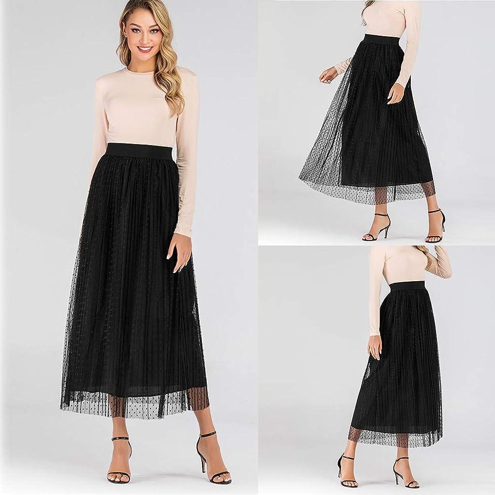 ACEBABY Faldas Mujer Casual A-Line Falda Tul Mujer Midi Plisadas ...