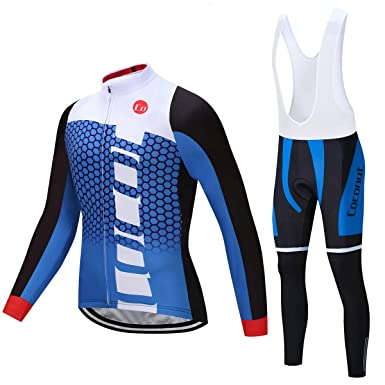 Coconut Ropamo Men s Cycling Jersey Suit Long Sleeve Road Bike Jersey  Cycling Sets Tights with Padded fcf7c1432
