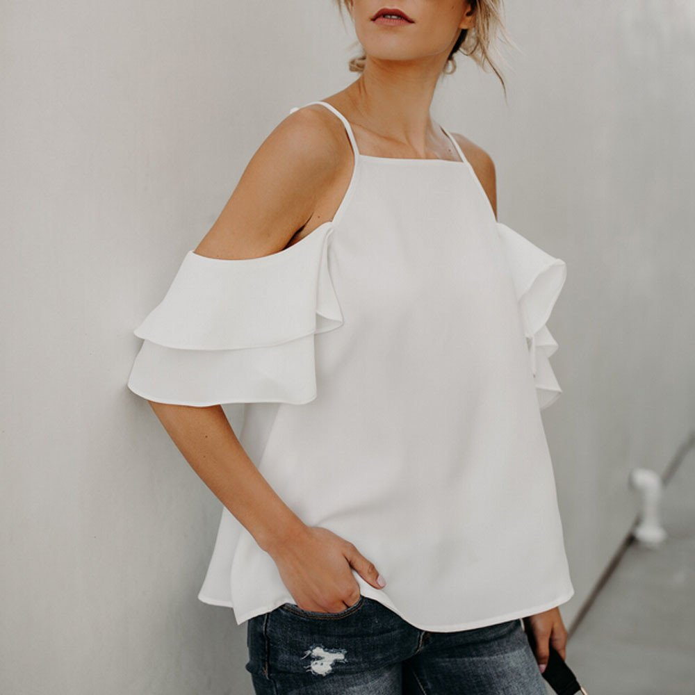Camisetas de Gasa Mujeres❤ Lonshell Ropa Verano Mujer Hombro Desnudo Blusa Mujer Elegante Tops Mujeres Color Puro de la Honda Camisola Ropa Mujer Fiesta ...