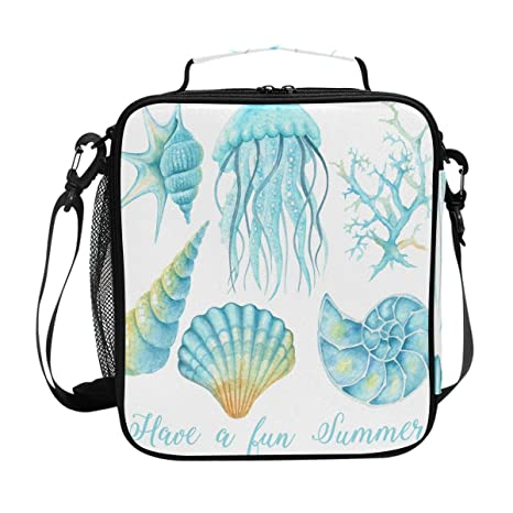 35d5ffd1db42 Amazon.com: Watercolor Ocean Jellyfish Insulated Lunch Bag, Starfish ...