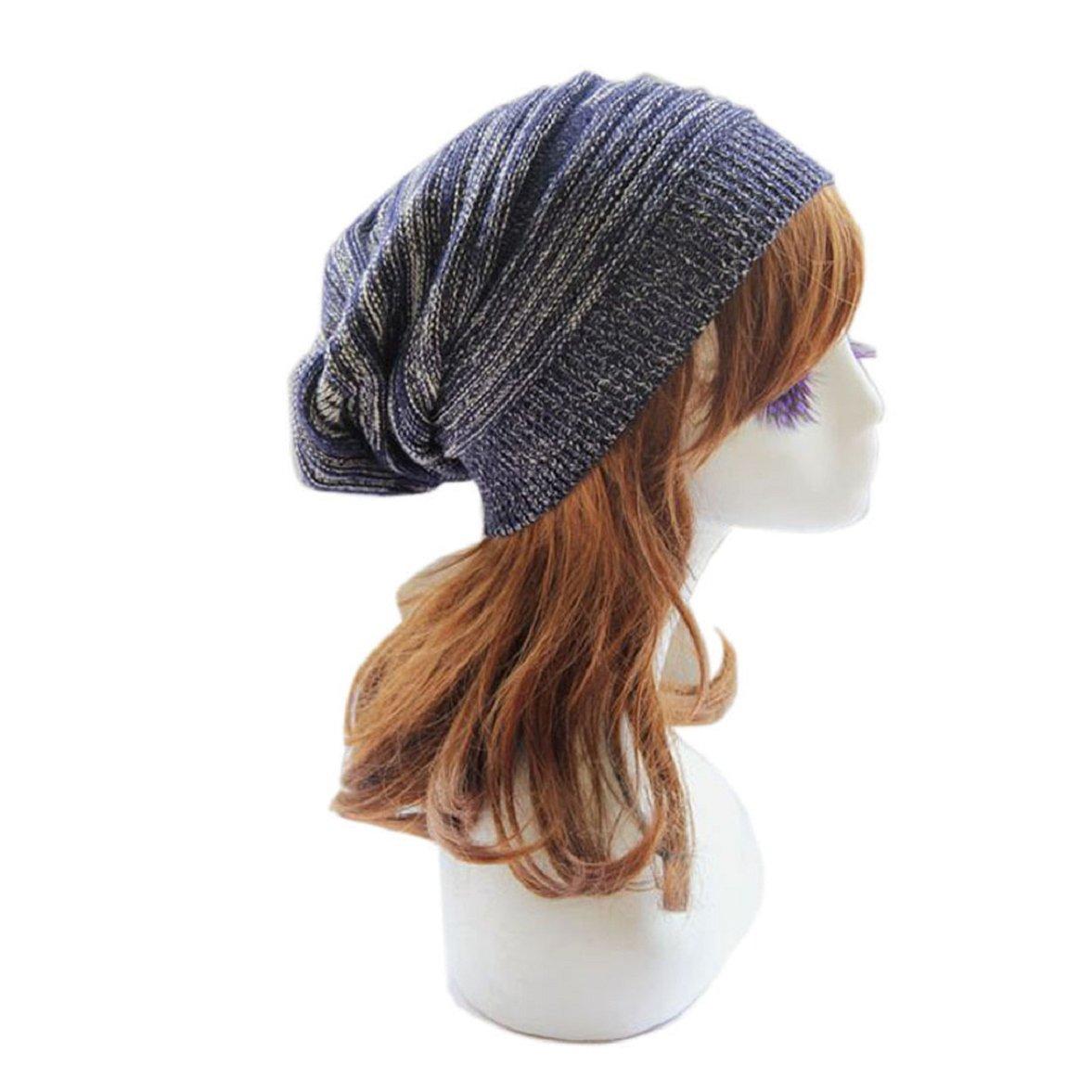 Sandistore Unisex Knit Baggy Beanie Beret Winter Warm Oversized Ski Cap Hat (Blue)