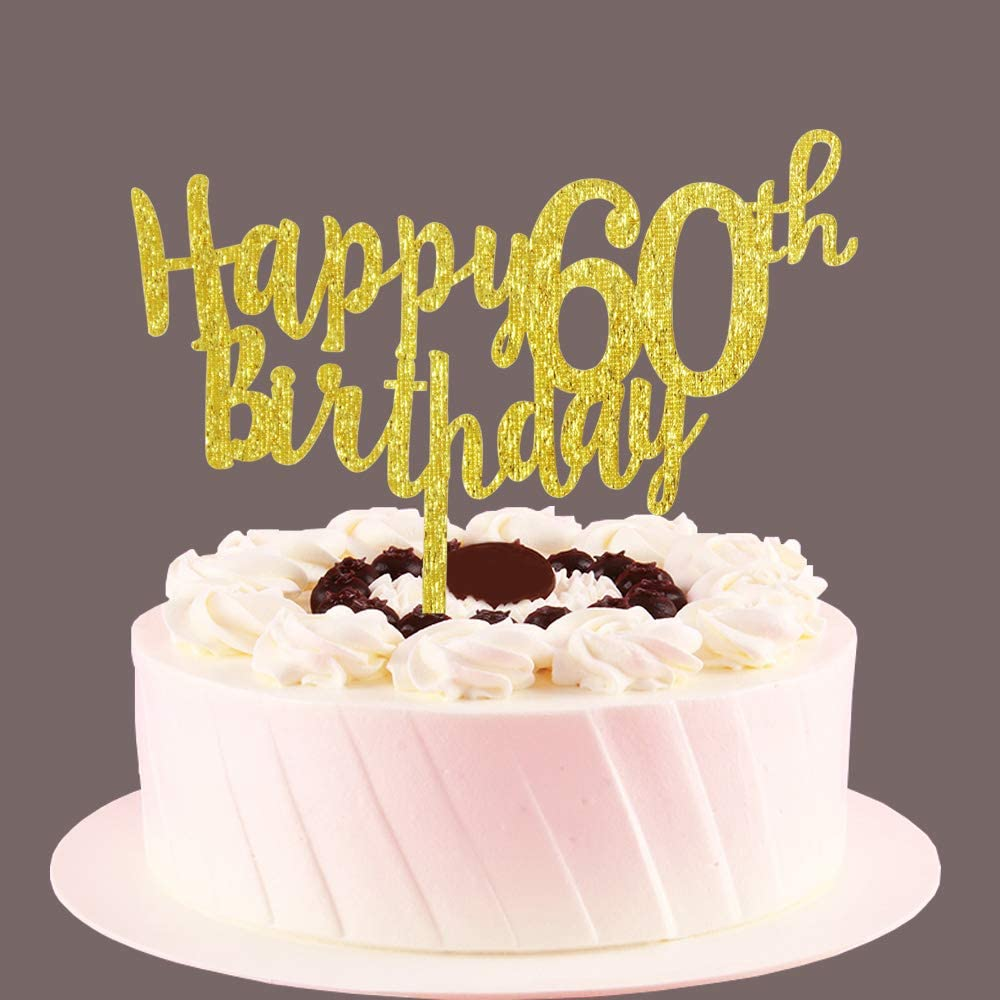 Tremendous Amazon Com Happy 60Th Birthday Cake Topper Gold 60 Years Old Personalised Birthday Cards Paralily Jamesorg