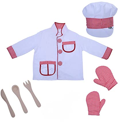 Buyone Chef Role-Play Costume Play Set with Realistic and Functional Accessories Gifts for Kids and Children Cooking kit High-Quality Materials and Entertaining Chef Role-Play Costume
