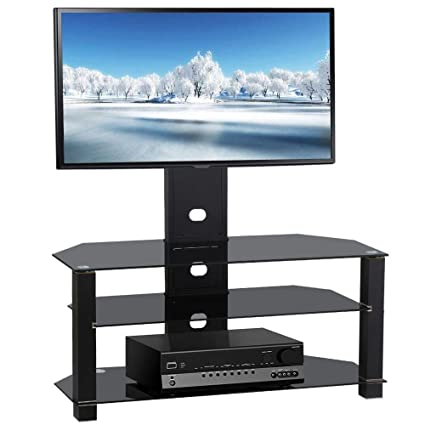 amazon com topeakmart tv stand with bracket mount and 3 tier glass rh amazon com glass tv shelves wall mount glass tv shelf system